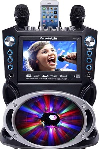 Karaoke USA GF842 DVD-CDG-MP3G Karaoke Machine with 7 TFT Color Screen, Record, Bluetooth and LED Sync Lights