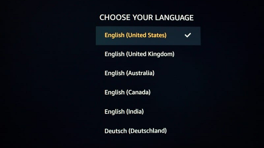 FireStick will now prompt you to select a language